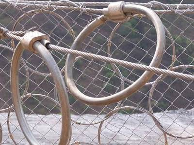 Steel ring net is installed with chain link fence and two decompression rings on the net.