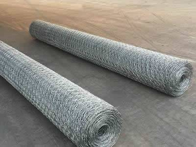 Two rolls of hexagonal wire mesh on the ground.
